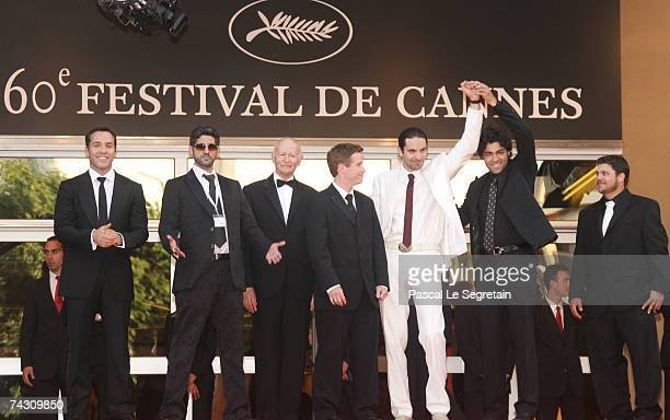 President of Cannes Film Festival Gilles Jacob and members of the cast of 'Entourage' including Jeremy Piven Assaf Cohen Kevin Connelly Rhys Coiro...