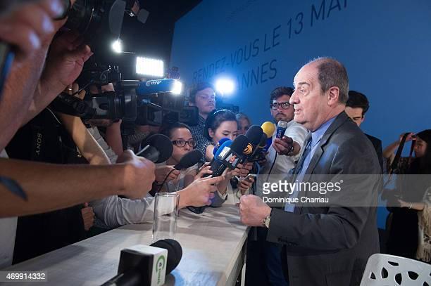 President of Cannes film festival Pierre Lescure attends the 68th Cannes Film Festival Official Selection Presentation at Cinema UGC Normandie on...