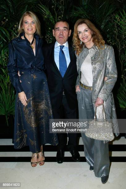 President of Care France Arielle de Rothschild Michel Corbiere and Cyrielle Clair attend the Diner des Amis de Care at Hotel Peninsula Paris on...