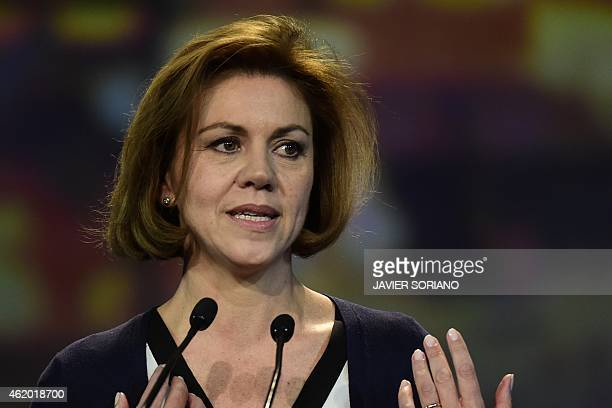 President of Castilla la Mancha's regional government and Popular Party General Secretary Maria Dolores de Cospedal speaks during the annual national...