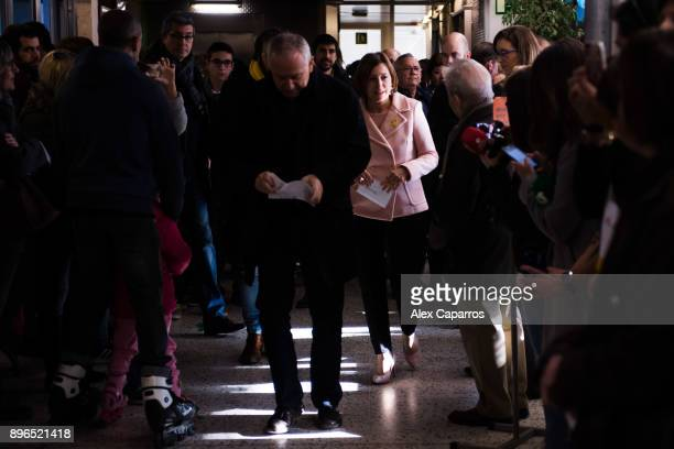 President of Catalan Parliament and 'Esquerra Republicana de Catalunya' ERC candidate Carme Forcadell waits to cast her ballot for the Catalan...