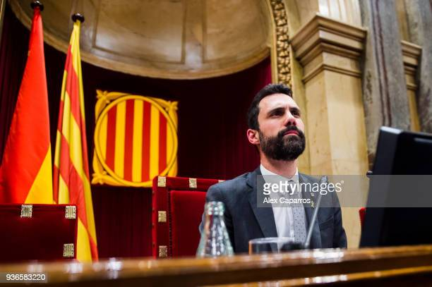 President of Catalan Parliament Roger Torrent looks on before the parliamentary session debating on the investiture of Jordi Turull as the new...