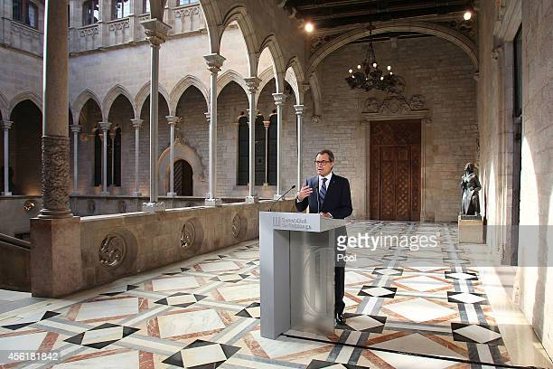 President of Catalonia Artur Mas gives an official speech after signing decree for independence referendum on September 27 2014 in Barcelona Spain...