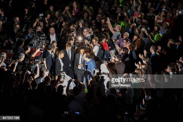 President of Catalonia Carles Puigdemont arrives at a meeting to launch the SelfDetermination referendum campaign on September 14 2017 in Tarragona...