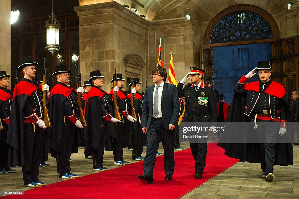 President of Catalonia Carles Puigdemont arrives at the Generalitat Palace, house of the Catalan government, on January 12, 2016 in Barcelona, Spain. Three months after the Catalan Elections, Carles Puigdemont took office as the 130th President of Catalonia. Puigdemont will replace the former Catalan President Artur Mas as part of the agreement closed last week with the radical left-wing party CUP to form a new government.