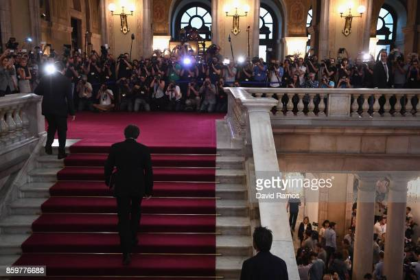 President of Catalonia Carles Puigdemont arrives at the Palau del Parlament de Catalunya ahead of his address to the Catalan Parliament on October 10...