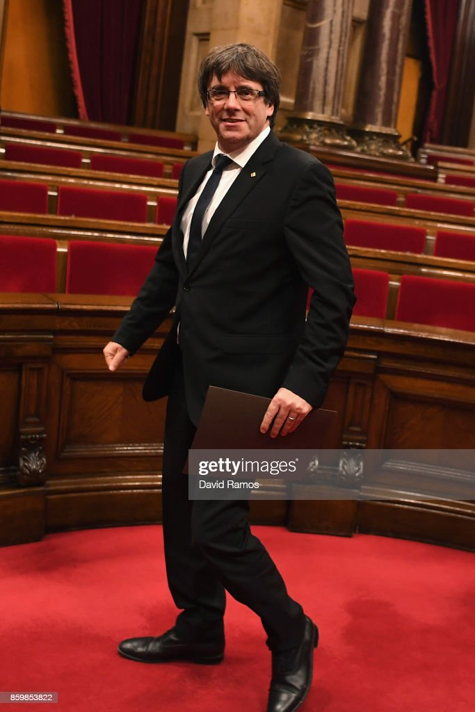 President of Catalonia, Carles Puigdemont, leaves the chamber after the session at the Palau del Parlament de Catalunya on October 10, 2017 in Barcelona, Spain. After the October 1 referendum, and weeks of build-up, Catalonia's president is to address the Catalan Parliament in which a declaration of independence is expected to be made.
