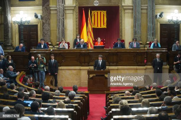 President of Catalonia, Carles Puigdemont makes a speech during the general assembly at Parliament of Catalonia in Barcelona, Spain on October 10,...