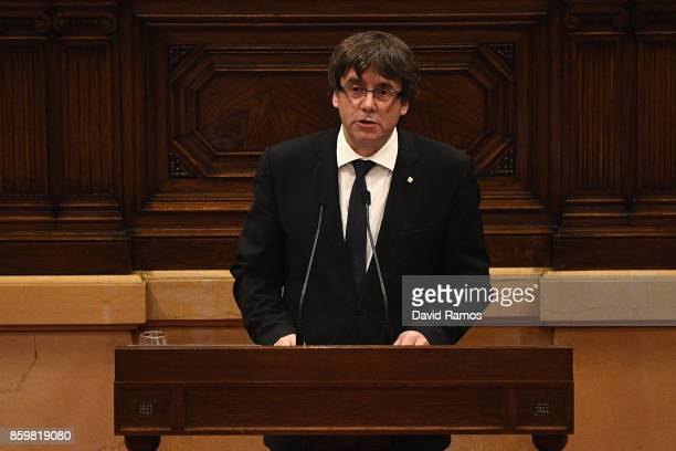 President of Catalonia Carles Puigdemont speaks in his address to the Catalan Parliament at the Palau del Parlament de Catalunya on October 10 2017...
