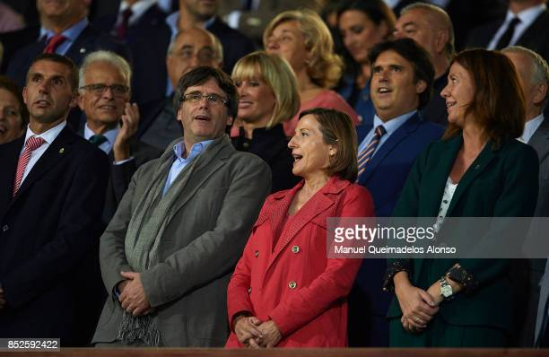 President of Catalonia Carles Puigdemotn and President of the Catalan parliament Carme Forcadell ahead the La Liga match between Girona and Barcelona...