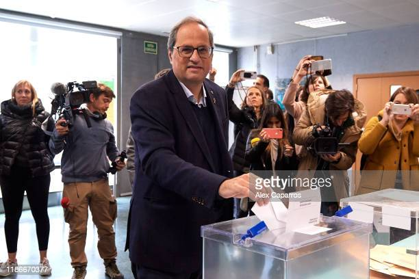 President of Catalonia Quim Torra casts his vote at a polling station on November 10 2019 in Barcelona Spain Spain holds its fourth general election...