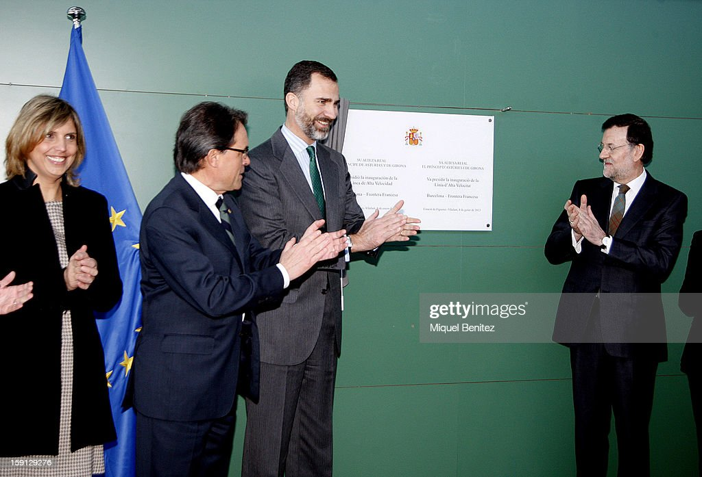 President of Catalunya Artur Mas, Prince Felipe of Spain and Prime Minister of Spain Mariano Rajoy unveil a commemorative plaque at Figueres-Vilafant train station during the inauguration of the AVE high-speed train line between Barcelona and the French border on January 8, 2013 in Barcelona, Spain.