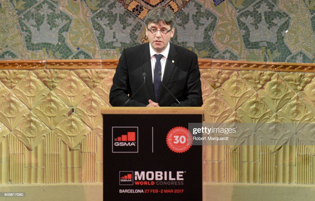 President of Catalunya Carles Puigdemont attends the official dinner of the Mobile World Congress 2017 at Palau de la Musica on February 26, 2017 in Barcelona, Spain.