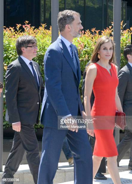 President of Catalunya Carles Puigdemont King Felipe VI of Spain and Queen Letizia of Spain attend the 'La Caixa' Scholarships held at the...