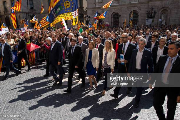 President of Cataonia Carles Puigdemotn leads Catalan mayors during a demonstration on September 16 2017 in Barcelona Spain 712 Catalan mayors who...