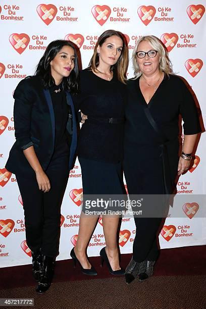 President of 'CekeDuBonheur' Helene Sy standing between godmothers of CKDB Leila Bekhti and Valerie Damidot attend the Samba Premiere to Benefit...