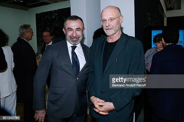 President of Centre Beaubourg Alain Seban and Artist Anselm Kiefer attend the Anselm Kiefer's Exhibition Press Preview held at Centre Pompidou on...
