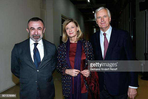 President of Centre Beaubourg Alain Seban Michel Barnier and his wife Isabelle attend the Anselm Kiefer's Exhibition Press Preview held at Centre...
