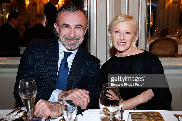 President of Centre Pompidou Alain Seban and Photographer Cindy Sherman attend the Monnaie De Paris Reopening Party with Opening of the McCarthy...