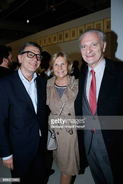 President of Centre Pompidou Serge Lasvignes Alain Flammarion and his wife Suzanna Flammarion attend the 'Chagall Lissitzky Malevitch L'Avantgarde...