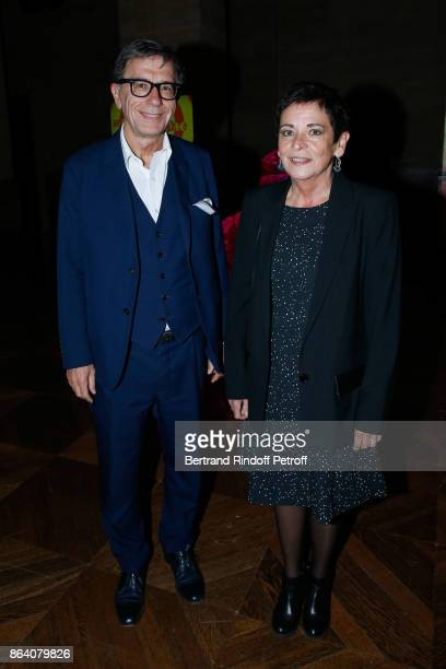 President of Centre Pompidou Serge Lasvignes and his wife Martine attend the 'Bal Jaune Elastique 2017' Dinner Party at Palais Brongniart during FIAC...