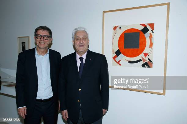 President of Centre Pompidou Serge Lasvignes and Sponsor of the Exhibition CEO of Plastic Omnium Laurent Burelle attend the 'Chagall Lissitzky...