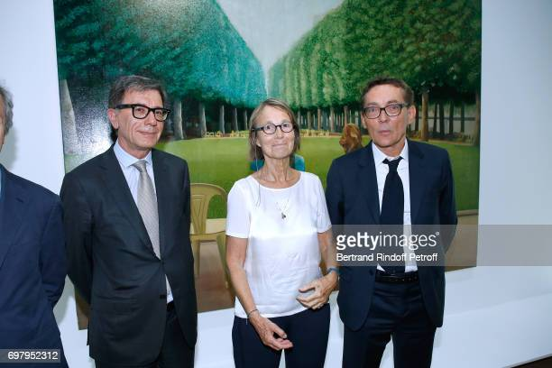 President of Centre Pompidou Serge Lasvignes French Minister of Culture and Communication Francoise Nyssen and Curator of the Exhibition attend the...