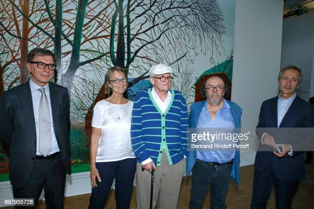 President of Centre Pompidou Serge Lasvignes French Minister of Culture and Communication Francoise Nyssen Painter David Hockney Actor JeanMichel...