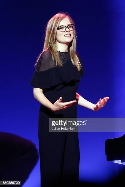 President of Ceremony Isabelle Carre presents les Grands Prix De La Sacem 2017 Ceremony At Salle Pleyel on November 27 2017 in Paris France