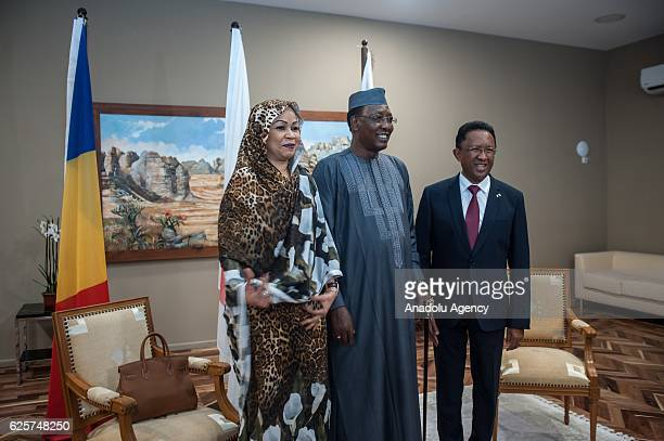 President of Chad Idriss Deby and his wife Hinda Deby meet the President of Madagascar Hery Rajaonarimampianina at Ivato International Airport before...
