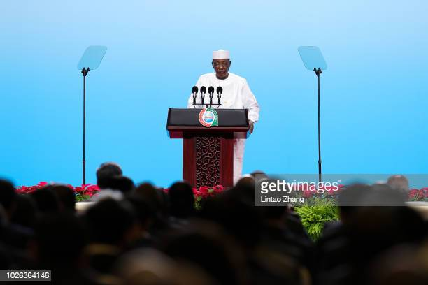 President of Chad Idriss Deby speaks during the Highlevel Dialogue between Chinese and African Leaders and Business and Industry Representatives and...