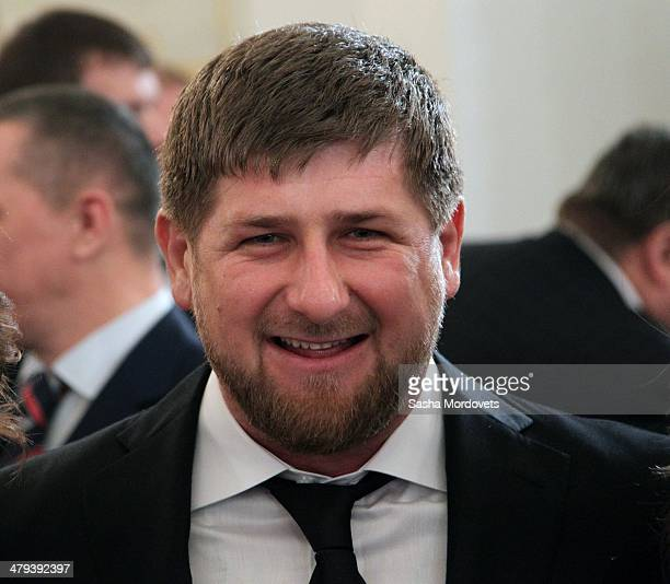 President of Chechnya Ramzan Kadyrov attends a meeting in the Grand Kremlin Palace on March 18 2014 in Moscow Russia President Putin has signed a...
