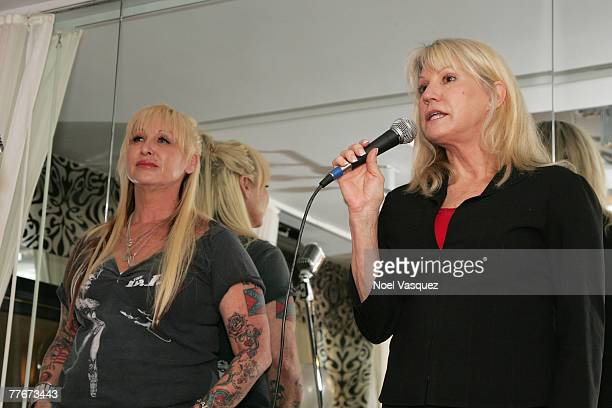 President of Children of the Night Dr Lois Lee and Andrea Lawent speak at the Joint Fitness one year anniversary celebration and charity event at the...