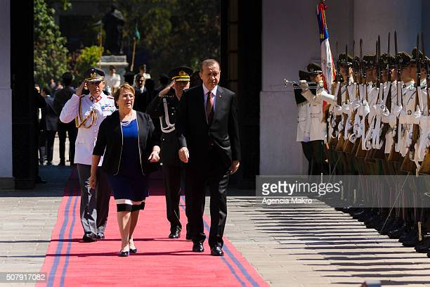 President of Chile Michelle Bachelet and President of Turkey Recep Tayyip Erdogan walk toward Palacio de La Moneda on February 01 2016 in Santiago...
