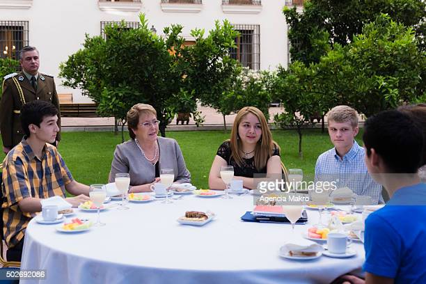 President of Chile Michelle Bachelet attends a breakfast with the students who earned national score in the University Selection Test at La Moneda in...