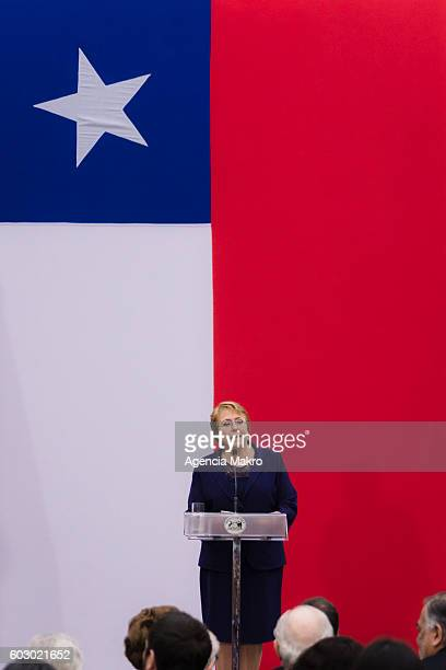 President of Chile Michelle Bachelet delivers a speech at the Palacio de La Moneda in commemoration of the 43 years of the military coup led by...