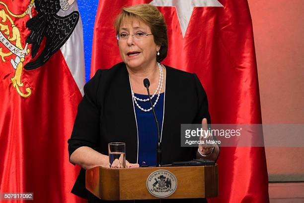 President of Chile Michelle Bachelet gives a speech after signing a cooperation agreement between Chile and Turkey at Palacio de La Moneda on...