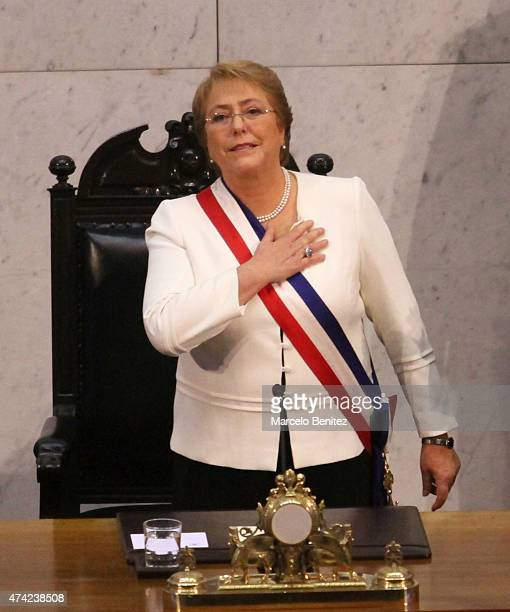 President of Chile Michelle Bachelet greets before delivering the annual presidential message to the Nation at Congress Honour Hall on May 21 2015 in...