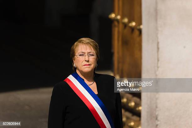 President of Chile Michelle Bachelet honors the funeral procession of the deceased former President of Chile Patricio Aylwin outside the Palacio de...