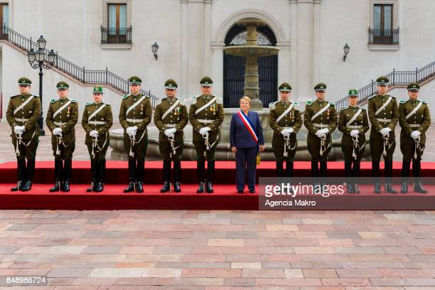 President of Chile Michelle Bachelet leads her last official photograph with the Palace Guard during the celebrations of Independence Day as part of...