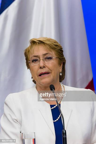 President of Chile Michelle Bachelet speaks to the press during a meeting in the Patio de Las Camelias as part of the Francois Hollande visit at...