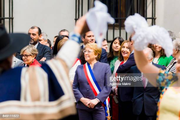 President of Chile Michelle Bachelet watches the traditional Esquinazo during the celebrations of Independence Day at Patio de los Cañones on...