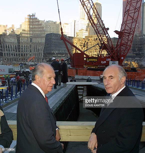 President of Chile Ricardo Lagos and Argentinian President Fernando de la Rua tour Ground Zero of the World Trade Center site in New York 10 November...