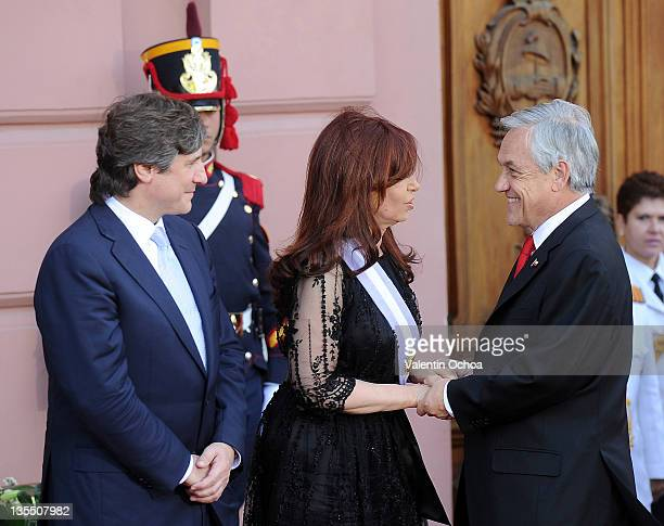 President of Chile Sebastian Piñera greets to the president Cristina Fernandez de Kirchner during her takes office of her second period of government...