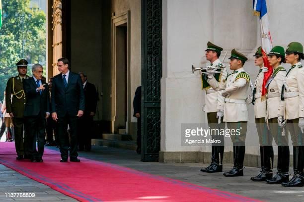 President of Chile Sebastian Piñera receives President of Brazil Jair Bolsonaro at Palacio de la Moneda on March 23 2019 in Santiago Chile