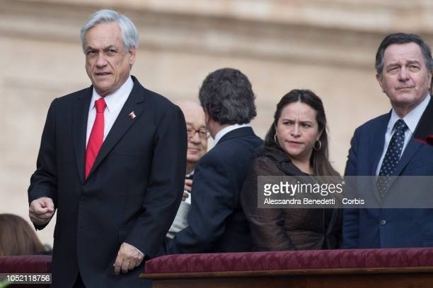 President of Chile Sebastian Pinera attends the canonisation Ceremony presided by Pope francis of seven new Saints including Pope Paul VI and...