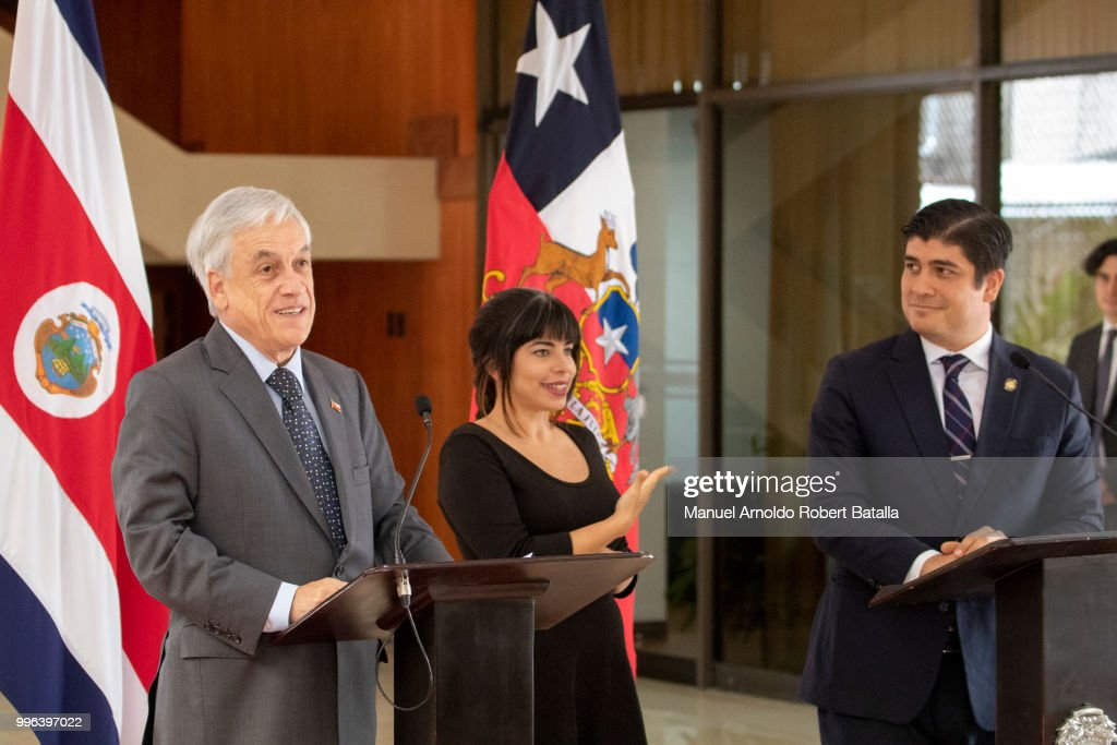 President of Chile Sebastian Pinera speaks during a press conference as President of Costa Rica Carlos Alvarado attends as part of an Official Visit to Costa Rica at the Presidential House on July 9, 2018 in San Jose, Costa Rica.