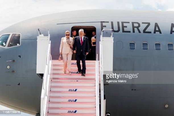 President of Chile Sebastián Piñera along with First Lady Cecilia Morel arrive in the city of Osaka to participate in the G20 Summit where Chile...