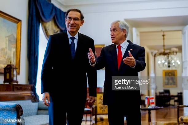 President of Chile Sebastián Piñera and President of Peru Martín Vizcarra speak inside the Audience Hall during a work meeting at the Palacio de La...