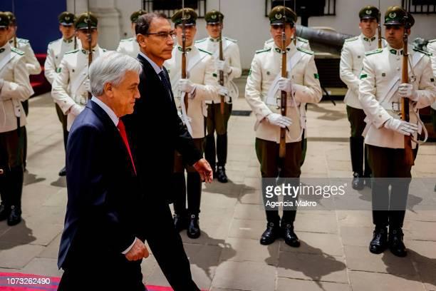 President of Chile Sebastián Piñera and President of Peru Martín Vizcarra receive the honors of the Palace Guard at the Palacio de La Moneda on...